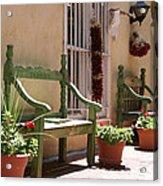 Old Town Albuquerque Green Bench Acrylic Print