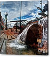 Old Town Fountain Acrylic Print by JulieannaD Photography