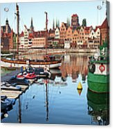 Old Town Of Gdansk Skyline And Marina Acrylic Print