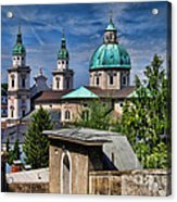 Old Town Salzburg Austria In Hdr Acrylic Print by Sabine Jacobs