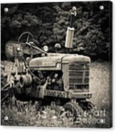 Old Tractor Black And White Square Acrylic Print