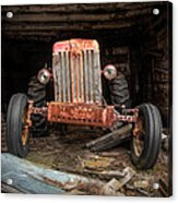 Old Tractor Face Acrylic Print by Gary Heller