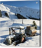 Old Tractor In Winter With Lots Of Snow Waiting For Spring Acrylic Print