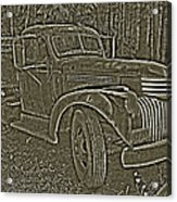 Old Truck In Sepia Acrylic Print