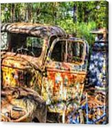 Old Trucks And Old Bicycles Acrylic Print