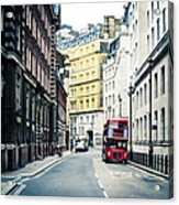 Old Vintage Red Double Decker Bus In Acrylic Print