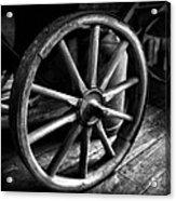 Old Wagon Wheel Black And White Acrylic Print