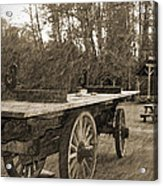 Old Wagon With Antique Water Wheel Acrylic Print
