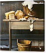 Old Wash Tub With Soap And Scrub Brushes Acrylic Print