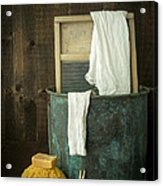 Old Washboard Laundry Days Acrylic Print by Edward Fielding