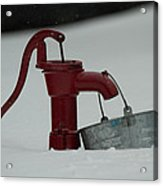 Old Water Pump In Snow Acrylic Print