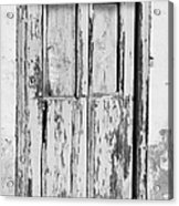 old weathered green painted wooden door entrance to abandoned house with cracked stucco walls in Tacoronte Tenerife Canary Islands Spain Acrylic Print