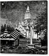 Old Whitewashed Lemyethna Temple Bw Acrylic Print