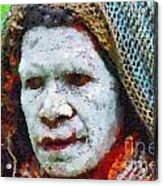 Old Woman In Traditional Shawl Acrylic Print