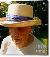 Old Woman Wearing Straw Hat Acrylic Print
