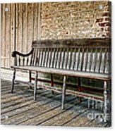Old Wood Bench Acrylic Print by Olivier Le Queinec