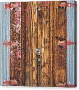 Old Wood Door With Six Red Hinges Acrylic Print