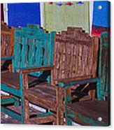 Old Wooden Benches Acrylic Print by Garry Gay