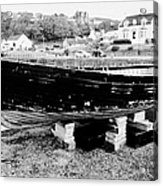 Old Wooden Fishing Boat In Portpatrick Harbour Scotland Uk Acrylic Print
