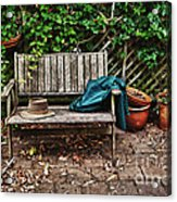 Old Wooden Garden Bench  Acrylic Print