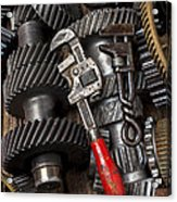 Old Wrenches On Gears Acrylic Print by Garry Gay