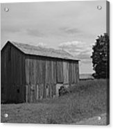 Olde Homestead - Olde Barn - Black And White Acrylic Print