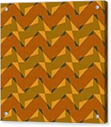 Olive Green And Orange Chevron Collage Acrylic Print