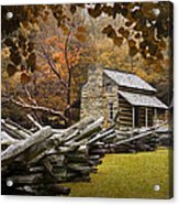 Oliver's Log Cabin During Fall In The Great Smoky Mountains Acrylic Print