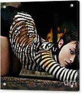 Olivia Wild And The Tiger Acrylic Print