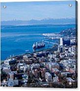 Olympic Mountains On Elliott Bay Seattle Washington Acrylic Print