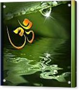 Om On Green With Dew Drop Acrylic Print