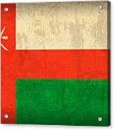 Oman Flag Vintage Distressed Finish Acrylic Print