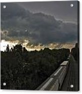 Ominous Skies Over Tracks Acrylic Print