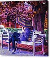 On A Bench Under An Umbrella In Autumn Acrylic Print
