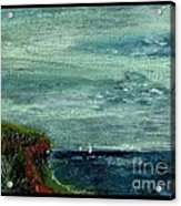 On A Bluff Over The Sea Looking At Sailboats Acrylic Print by Cathy Peterson