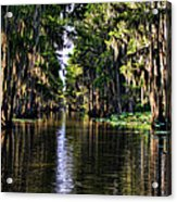 On Golden Canal Acrylic Print