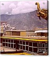 On Jokhang Monastery Rooftop Acrylic Print by Anna Lisa Yoder