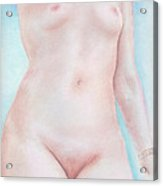 On The Artists Pedestal A Statuesque Female Nude Torso With Open Sky Behind Acrylic Print