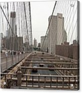 On The Brooklyn Bridge Acrylic Print