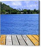 on the dock in Tahiti Acrylic Print