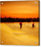 On The Pond With Dad Acrylic Print by Desmond Raymond