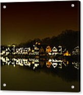 On The River At Night -  Boathouse Row Acrylic Print