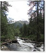 On The Shore Of A Mountain River With Mountain View Acrylic Print
