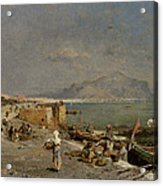 On The Waterfront At Palermo Acrylic Print by Franz Richard Unterberger