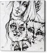 One Angel Three Cats Acrylic Print
