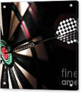 One Arrow In The Centre Of A Dart Board Acrylic Print
