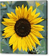 One Bright Sunflower - Digital Art Acrylic Print