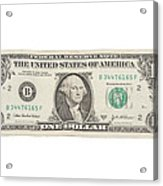 One Dollar Bill On White Background Acrylic Print