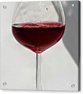 One Glass Of Red Wine With Bottle Shadow Art Prints Acrylic Print