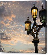 One Light Out - Westminster Bridge Streetlights - River Thames In London Uk Acrylic Print